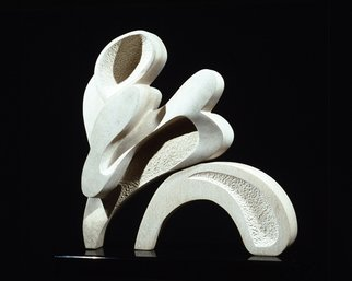 Robin Antar; body movement, 1997, Original Sculpture Limestone, 18 x 18 inches. Artwork description: 241 limestone, stone, abstract, figures, movement...
