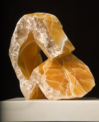 Robin Antar; the thinker 1, 2010, Original Sculpture Stone, 18 x 18 inches. Artwork description: 241 carved out to honeycomb calcite, figure, thinking, abstract, art, stone, cool...