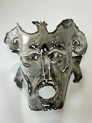 Jean-Yves Robles; Masque, 2008, Original Metalsmith, 70 x 50 cm. Artwork description: 241  Masque de mA(c)tal, applique mural avec A(c)clairage ...