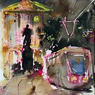 Jean-Yves Robles; NIce, 2008, Original Watercolor, 24 x 25 cm. Artwork description: 241  Nice de nuit ...