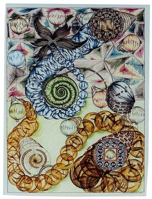 Robert Robbins; Bubbles Of Magic, 1994, Original Illustration, 22 x 30 inches. Artwork description: 241    This original is about an ocean scene where I saw three different sea shells sand dollar, clam, and starfish. Well I put together two bubbles of magical scenes creating two different patterns in the balls. As you closely, I am creating a metamorphosis a caterpillar turning into ...