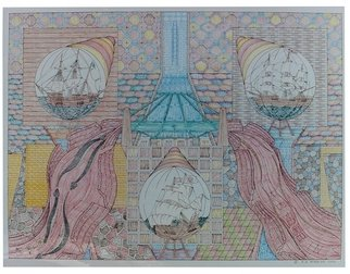 Robert Robbins; First Bridge With Ships, 1992, Original Illustration, 22 x 30 inches. Artwork description: 241  This original is about a metamorphosis happen through the first bridge. the stick turning into a worm and the to a serpent then vise verse. At the same time the fortune teller is telling you about ships inside the crystal ball. Forming a waterfall behind and under ...