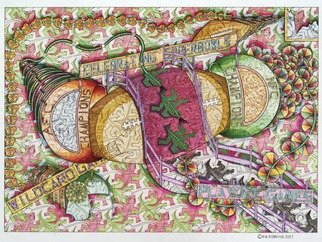 Robert Robbins; Reigning Over Two Champio..., 2007, Original Illustration, 30 x 22 inches. Artwork description: 241  This original is about an event leading up to the Superbowl. You have two champions representing the league in football. As you can see there is regular division drawing, a form of Escher with the lizards. It is about two rings forming a football in the middle. ...