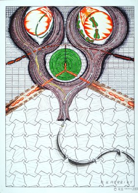 Robert Robbins; Tessellation And Surrealism 1, 2005, Original Illustration, 22 x 30 inches. Artwork description: 241  This Original is about tessellation and surrealism. As you can see there a double metamorphosis, a snail turning into a serpent, a stick turning into a worm, on the other side the ball and baseball bat comes down. the serpent forms when the worm collides. the baseball ...