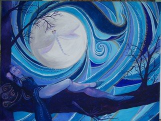 Samantha Rochard; Basking In My Moon, 2007, Original Painting Acrylic, 48 x 36 inches. Artwork description: 241  My emotions rise and fall with the moon, I bask in its energy. Cyclic moods. . . . . . . . I rise , Ifall , I hide. ...