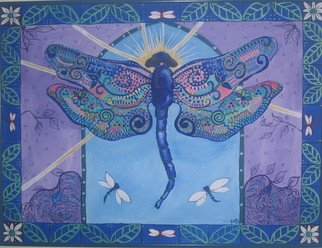 Samantha Rochard; Mamzelle, 2007, Original Painting Acrylic, 48 x 36 inches. Artwork description: 241  Flickering through, in and out of your world like a fleeting thought. We call them battimamzelle, you call them dragonfly. I think they are magic carriers. They have magic on their wings. ...