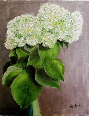 Vadim Amelichev; hydrangea in a green vase, 2014, Original Painting Oil, 40 x 50 cm.