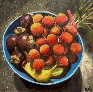 Vadim Amelichev; mangosteen and lychee, 2017, Original Painting Oil, 50 x 50 cm.