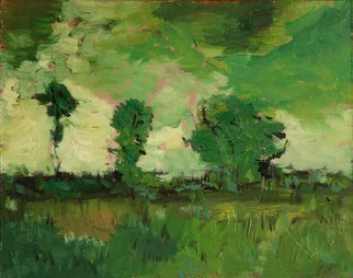 Rossen Stanoev; Landscape In Green, 2012, Original Painting Oil, 26.5 x 21 cm. Artwork description: 241      Rossen Stanoev, landscape, green, fine art, art, RSArt Gallery OnLine, collection Rossen Stanoev              ...