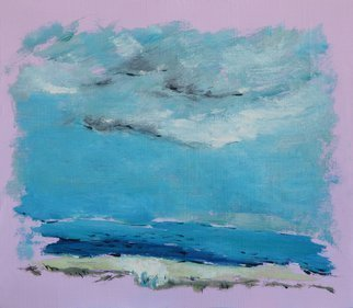 Rossen Stanoev; Sea I, 2016, Original Painting Oil, 22 x 19 cm. Artwork description: 241 sea, blue, pink, sky, grey, landscape,  Rossen Stanoev, art, fine art, Bulgarian fine art, contemporary masters of art, contemporary art, painting, ...