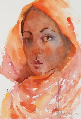 Roderick Brown; Beauty In Dignity, 2014, Original Watercolor, 22.5 x 32.5 cm. Artwork description: 241  I found the orange shawl provided a wonderful frame for a face with some intrigue in the expression ...