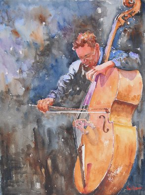 Roderick Brown, Blues on Strings, 2011, Original Watercolor,    inches