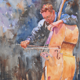 Roderick Brown, , , Original Watercolor, size_width{Blues_on_Strings-1321018481.jpg} X 24 inches