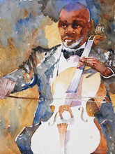 Artist: Roderick Brown's, title: Cello Time, 2011, Watercolor