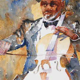 Roderick Brown, , , Original Watercolor, size_width{Cello_Time-1321018523.jpg} X 24 inches