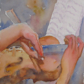 Roderick Brown, , , Original Watercolor, size_width{Hands_at_Play_2-1321018215.jpg} X 14 inches