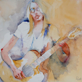 Roderick Brown, , , Original Watercolor, size_width{Me_and_My_Guitar-1321018062.jpg} X 14 inches