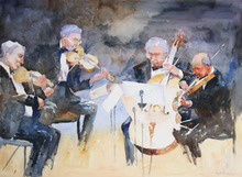 Artist: Roderick Brown's, title: Quartet in Time, 2011, Watercolor