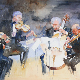 Roderick Brown, , , Original Watercolor, size_width{Quartet_in_Time-1321018573.jpg} X 30 inches