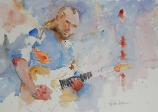 Roderick Brown; Rockin Guitar, 2011, Original Watercolor, 12 x 14 inches. Artwork description: 241       one of my many music and hands focussed paintings      ...