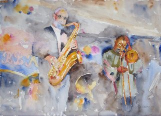 Roderick Brown, Sax Out Front, 2010, Original Watercolor,    inches