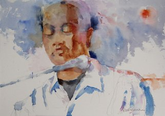 Roderick Brown; Soul Singer, 2011, Original Watercolor, 12 x 14 inches. Artwork description: 241     one of my many music and hands focussed paintings    ...