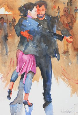 Roderick Brown, Street Tango in Buenos Aires, 2011, Original Watercolor,    inches