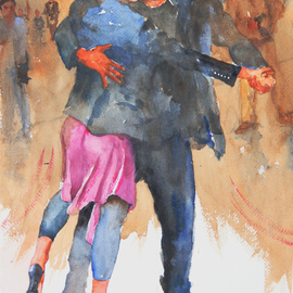 Roderick Brown, Street Tango in Buenos Aire..., 2011, Original Watercolor, size_width{Street_Tango_in_Buenos_Aires-1321018738.jpg} X 14 x  inches