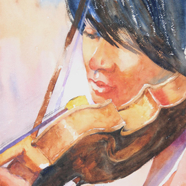 Roderick Brown, , , Original Watercolor, size_width{Strings_in_Play-1321018267.jpg} X 14 inches