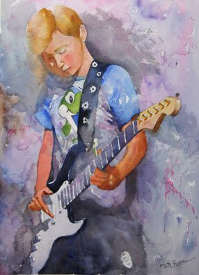 Roderick Brown, Strumming My Guitar, 2016, Original Watercolor, size_width{Strumming_My_Guitar-1461062560.jpg} X 41 x  cm
