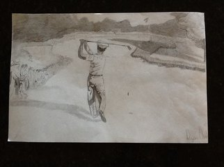 Ryan Odonnell; The Perfect Shot, 2012, Original Drawing Pencil, 18 x 10 inches. Artwork description: 241  drawing of ben hogan famous golfer sports negotiate price  ...