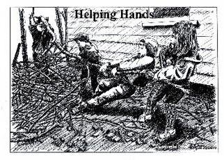 Romy Galicia; Little Helping Hands, 2001, Original Drawing Pen, 14 x 11 inches. Artwork description: 241 Pen and ink rendition by Romy Galicia of three young kids desperately trying to help their Dad clean up debris after the devastating snowstorm that visited almost all of Arkansas in January of 2001. Courtesy of El Dorado News Times. ...