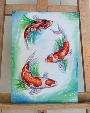 Dalia Aql; KOI EVERYWHERE, 2020, Original Painting Oil, 26 x 35 cm. Artwork description: 241 Vibrant Koi Fish that bring a little brightness to every home.  They symbolize clarity, peace of mind, and bursting spirit from within.  ...