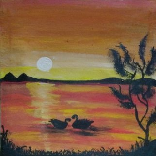Rubab Akram; Sunset Painting, 2020, Original Painting Oil, 11.5 x 11.5 inches. Artwork description: 241 Hi, this painting is handmade by oilpaints. . . .  this painting describes a scene of sunset with fully bright and charming colours. .  In short meeting of sun when going and moon when coming is just like the meeting of life and death and is beautiful and is giving us ...