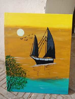 Rubab Akram; Sunset Seascape Painting, 2020, Original Painting Acrylic, 16 x 20 inches. Artwork description: 241 Acrylic handmade painting...