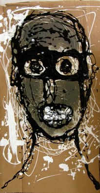 Ron Allen; Black  Goggles, 2008, Original Painting Acrylic, 12 x 23 inches. Artwork description: 241  Acrylic paint on cardboard ...