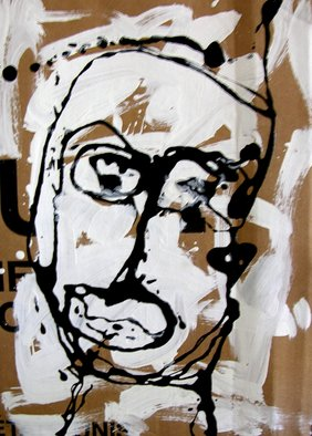 Ron Allen; Black And White Head, 2008, Original Painting Acrylic, 13 x 18 inches. Artwork description: 241  Acrylic painting on cardboard ...