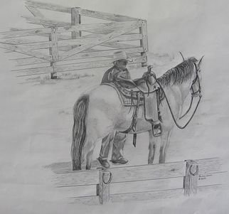 Ronald Lunn; Lets Hit The Trail, 2015, Original Drawing Pencil, 14 x 18 inches. Artwork description: 241  The artist and his horse, Jessi ready for a day on the trail. ...