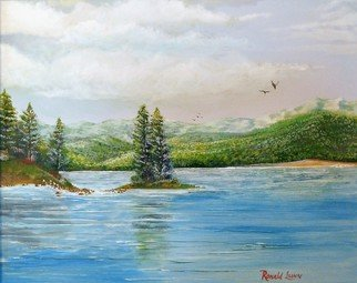 Ronald Lunn; Serenity, 2015, Original Painting Oil, 20 x 16 inches. Artwork description: 241 Painting of a lake amidst the mountains...