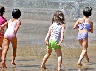 Ronnie Caplan; SUMMERTIME, 2009, Original Photography Color, 16 x 12 inches. Artwork description: 241   A public park' s fountain in Westmount, Montreal, provides the perfect cooling off activity for these girls, having fun together on a hot and sunny summer afternoon. With the four figures angled the same way, this is a figurative piece of a joyous scene. Reminiscent of ...
