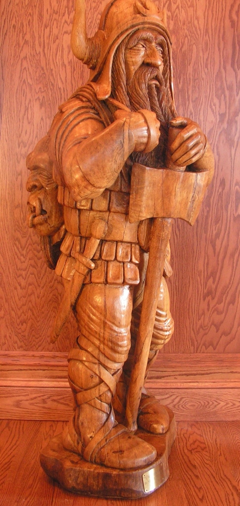Ronald Smith; A Warrior Dwarf Is Never ..., 1997, Original sculpture wood, 24 x 60 inches. Artwork description: 241  A Warrior Dwarf is Never Too Old , Sculpture, wood, fantasy, Tolkien, mythology, figurative, representational...