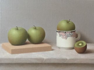 Ronald Weisberg; Apple 2, 2017, Original Painting Oil, 12 x 9 inches.