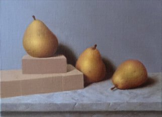 Ronald Weisberg; Pear 3, 2017, Original Painting Oil, 12 x 9 inches.