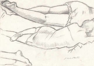 James Miller; Study Of Maria Sleeping, 1997, Original Drawing Pencil, 12 x 9 inches. Artwork description: 241  This drawing is part of several pepatory sketches for a painting I have benn working on for years. ...