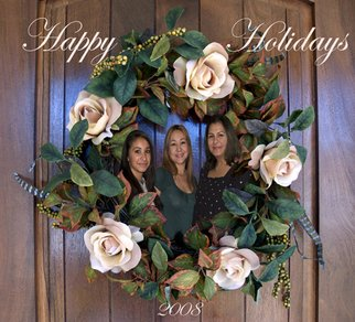 Rosalinda Alejos; Happy Holidays, 2008, Original Photography Other, 6.6 x 6 inches. Artwork description: 241  Digital Photomontage consisting of three ladies encircled by a wreath which is placed at the front entrance to a home.  ...