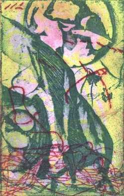 Rosalyn M. Gaier; Evolving, 2010, Original Printmaking Etching, 5 x 8 inches. Artwork description: 241  This colored etching was created from 3 zinc plates and one collagaph plate. It was inked by the artist and handpulled on an etching press....
