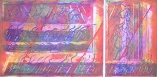 Rosalyn M. Gaier; Ribbons of Summer, 1993, Original Printmaking Other, 60 x 30 inches. Artwork description: 241  Ribbons of Summer is a diptych, both sections made from several plates printed over each other....