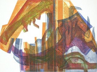 Rosalyn M. Gaier; Two Measures of Forte wit..., 1990, Original Printmaking Other, 38 x 28 inches. Artwork description: 241  This hand- pulled collagraph was inspired by the artists experience as a member of a Cleveland Orchestra chorus under direction of Robert Shaw. ...