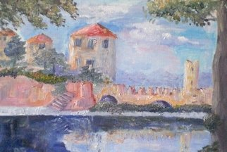 Rosa D Alessio; The Castle At Soncino, Italy, 2009, Original Painting Oil, 35 x 30 mm. Artwork description: 241  Medievil castle standing today at a village called Soncino, northern italy ...