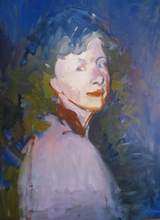 Artist: Jerry Ross', title: Angela in Blue, 2013, Painting Oil